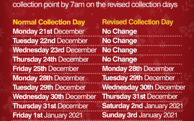 Christmas Collection day changes