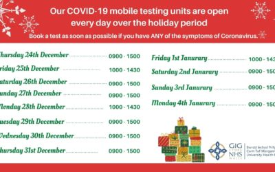 IF YOU HAVE SYMPTOMS OF CORONAVIRUS OVER THE FESTIVE PERIOD, BOOK A TEST AT A MOBILE TESTING UNIT.